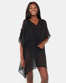 Brave Soul Beach Cover Up Cold Shoulder Black