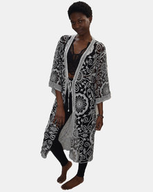 SKA Open Lace Kaftan Black and White