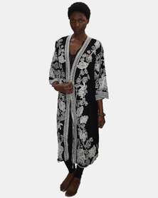 SKA Open Crochet Cotton Kaftan Black and White