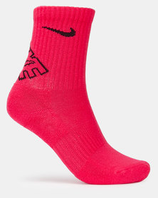 Nike DF Crew Socks Black/White/Pink