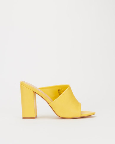 Miss Black Taranto Block Heel Asymetric Mule Yellow
