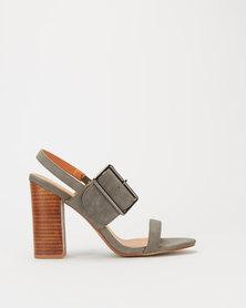 Miss Black Tivoli Buckle Detail Stack Heels Grey