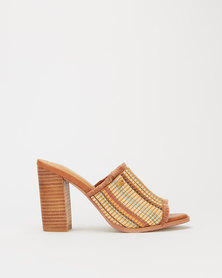 Miss Black Sangria Weave Detail Stack Heel Mule Tan