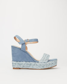Miss Black Gail Rafia Wedge Blue
