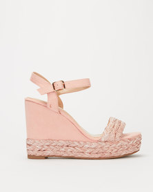Miss Black Gail Rafia Wedge Pink