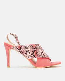 Miss Black Annastacia Snake Cross Over Heels Pink