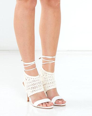 Miss Black Polaris Weave Tie Heels White