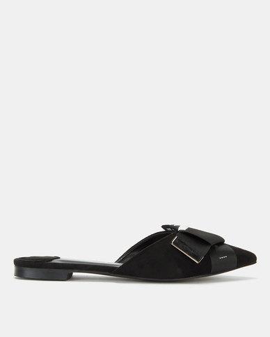 Miss Black Adelee Bow Detail Flat Mule Black