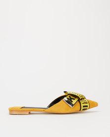 Miss Black Adelee Bow Detail Flat Mule Yellow