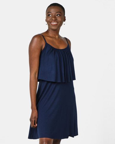 Nucleus Frill & Flare Dress Navy