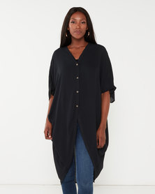 Utopia Georgette Oversized Top Black