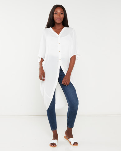 Utopia Georgette Oversized Top White