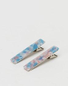 Black Lemon 2 Pack Rectangle Slides Blue/Pink