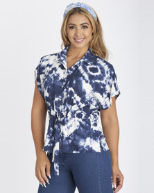 Contempo Tie Dye Print Drawstring Shirt Blue