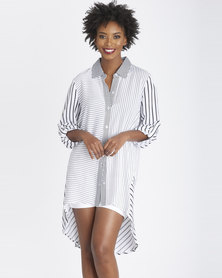 Contempo Stripe Oversized Shirt Black/White