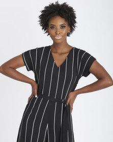 Contempo Stripe Cropped Jumpsuit Black/White
