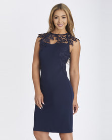 Contempo Dress With Lace Overlay Navy
