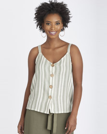 Contempo Stripe Cami With Wood Buttons Khaki