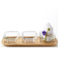 Leonardo Wooden Serving Platter with 3 Glass Bowls Gusto 4 Pieces