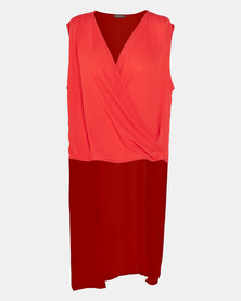 Utopia Plus Drape Front Georgette Top Orange