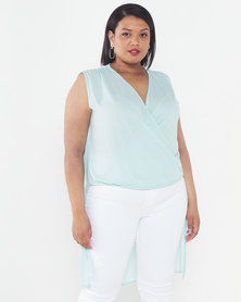 Utopia Plus Drape Front Georgette Top Seafoam