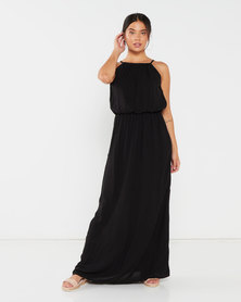 Utopia Viscose Grecian Dress Black