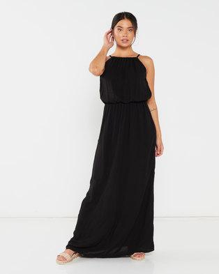 Utopia Viscose Grecian Dress Black