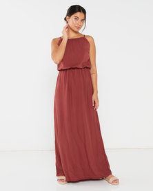 Utopia Viscose Grecian Dress Rust