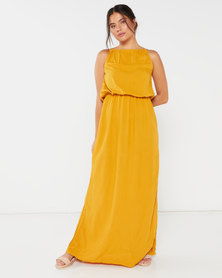 Utopia Viscose Grecian Dress Yellow
