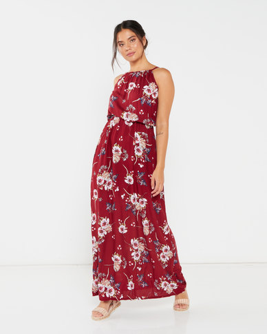 Utopia Floral Viscose Grecian Dress Burgundy