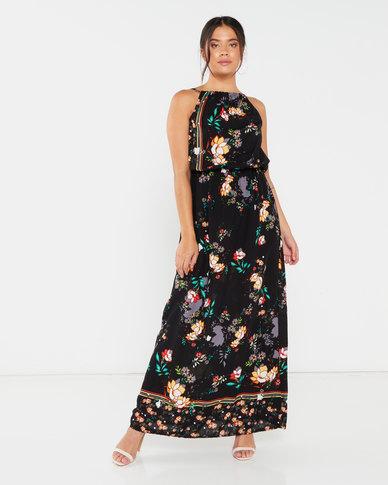 Utopia Floral Viscose Grecian Dress Black