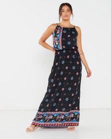 Utopia Elephant Print Viscose Grecian Dress Black