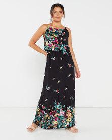 Utopia Floral Print Viscose Grecian Dress Black