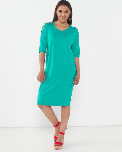 Slick Chanti Slat Sleeve Styled Dress Jade