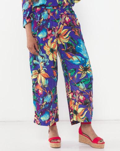 Slick Floral Symphony Ria Soft Wide Leg Pants Blue