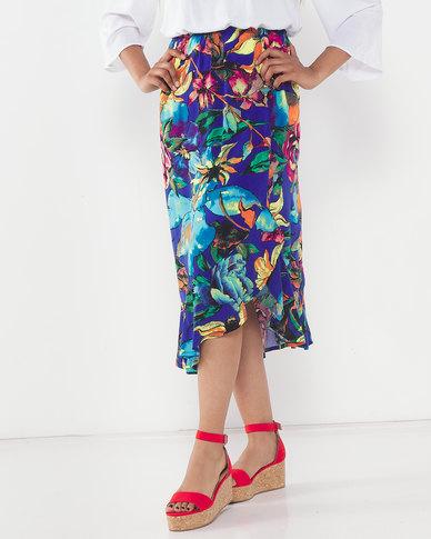 Slick Floral Symphony Zanne Ruffle Styled Skirt Blue