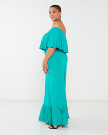 Slick Plus Anja Off Shoulder Dress Jade