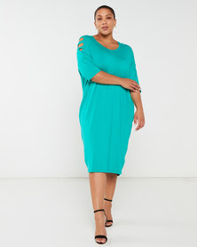 Slick Plus Chanti Slate Sleeve Dress Jade