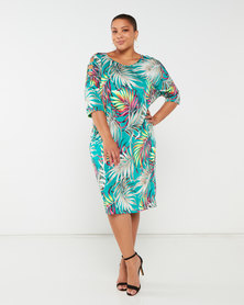 Slick Plus Jungle Chanti Slate Sleeve Dress Green