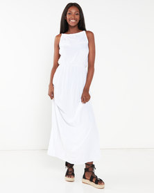 Utopia Viscose Grecian Dress White