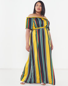 Utopia Plus Stripe Bardot Maxi Dress Multi