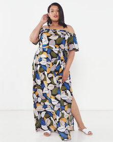 Utopia Plus Leaf Print Bardot Maxi Dress Black