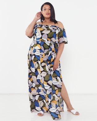Utopia Plus Leaf Print Bardot Maxi Dress Black