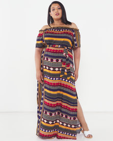 Utopia Plus Graphic Print Bardot Maxi Dress Multi
