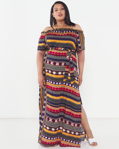 Utopia Plus Graphic Print Bardot Maxi Dress Multi