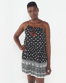 Utopia Elephant Print Strappy Dress Black/White