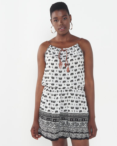 Utopia Elephant Print Strappy Dress White/Black