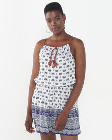 Utopia Elephant Print Strappy Dress White/Navy
