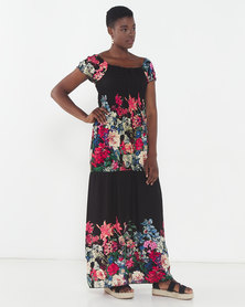 Utopia Floral Tiered Dress Black