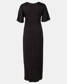 Absolute Maternity Flutter Sleeve Dress Black